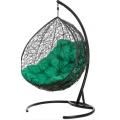 Двойное подвесное кресло Gemini black (зелёная подушка)