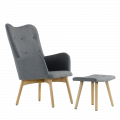Кресло K-101 с оттоманкой серый ткань