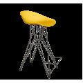 Стул барный SHT-ST19/S66 пластиковый желтый/черный муар зол. патина